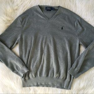 Polo Ralph Lauren Gray Pima Cotton V-Neck Sweater